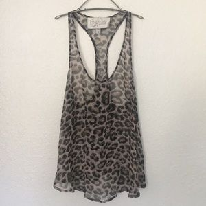 Rory Beca Sheer Silk Leopard Print Top